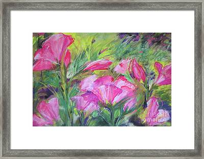 Framed Print featuring the painting Hollyhock Breeze by Susan Herbst