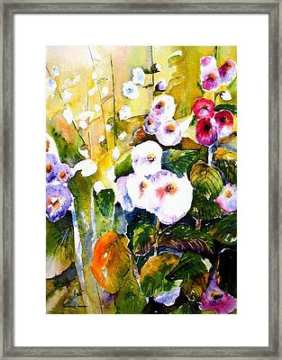 Framed Print featuring the painting Hollyhock Garden 1 by Marti Green