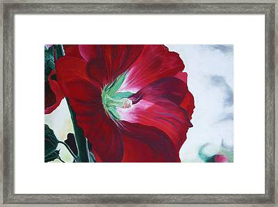 Framed Print featuring the painting Hollyhock by Jane Autry