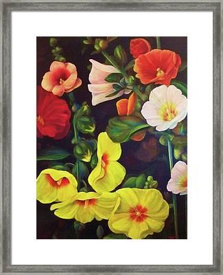 Hollyhocks 2 Framed Print by Dana Redfern