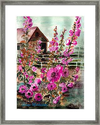 Hollyhocks And Barn Framed Print by George Markiewicz