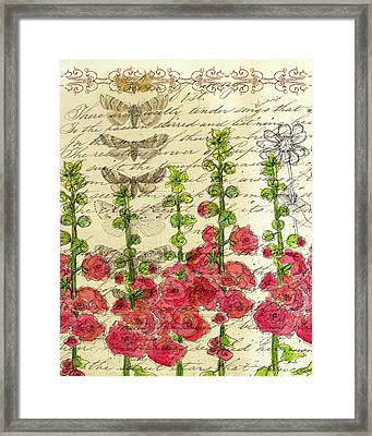 Framed Print featuring the drawing Hollyhocks And Butterflies  by Cathie Richardson