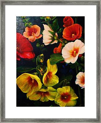 Hollyhocks Framed Print by Dana Redfern