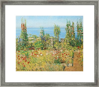 Hollyhocks Isles Of Shoals Framed Print by Childe Hassam
