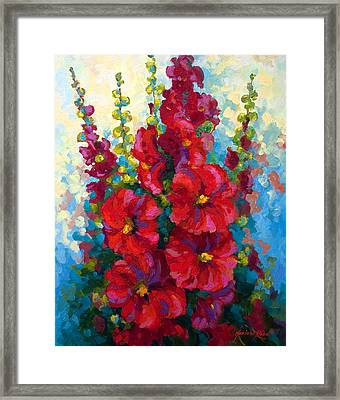 Hollyhocks Framed Print by Marion Rose