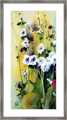 Framed Print featuring the painting Hollyhocks by Marti Green
