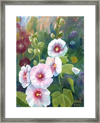 Framed Print featuring the painting Hollyhocks by Renate Nadi Wesley