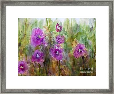 Hollyhocks Framed Print