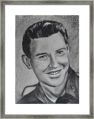 Framed Print featuring the drawing Duane 'red' Loban by Eric Dee