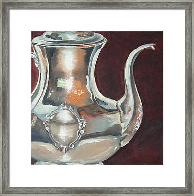 Holly's Sterling Coffee Pot Framed Print by Amy Higgins