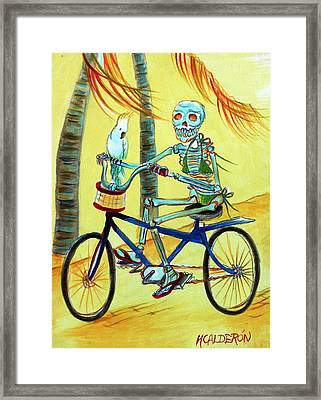Hollywood Bicycle Woman Framed Print