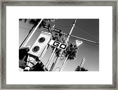 Hollywood Blvd Bw Framed Print
