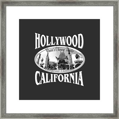Hollywood California Tshirt Design Framed Print by Art America Gallery Peter Potter
