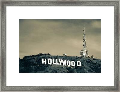 Hollywood Hills - Los Angeles California - Sepia Framed Print