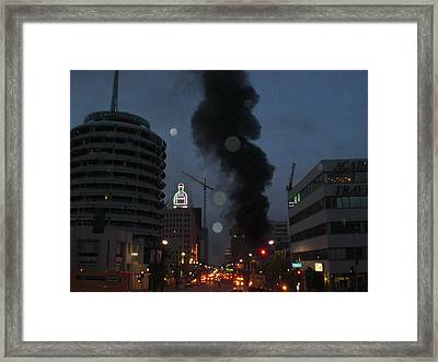 Hollywood Is Burning Framed Print by Roman Lezo