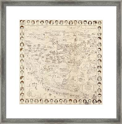 Hollywood Map To The Stars 1937 Framed Print