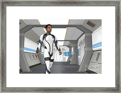 Holodeck Corridor Framed Print by Corey Ford