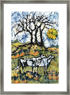 Holsiein Cows Below Autumn Trees Framed Print