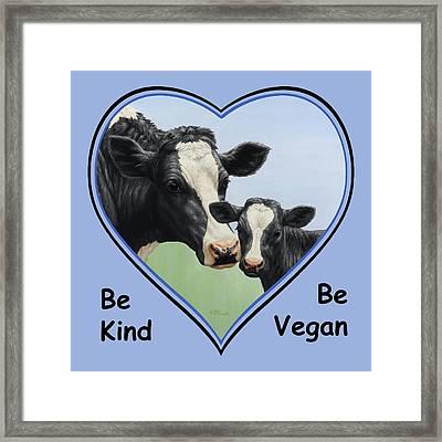 Holstein Cow And Calf Blue Heart Vegan Framed Print