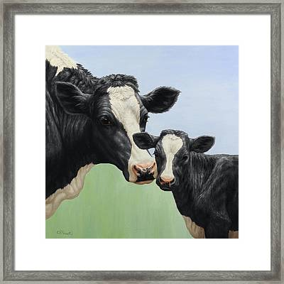 Holstein Cow And Calf Framed Print by Crista Forest