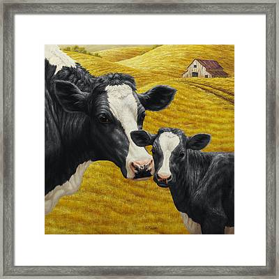 Holstein Cow And Calf Farm Framed Print by Crista Forest