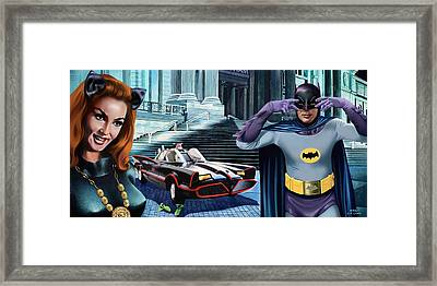 Holy Catastrophe - Julie Newmar And Adam West - 1966 Framed Print by Jo King