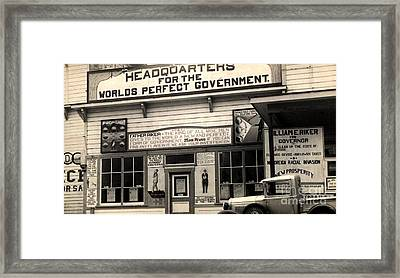 Holy City World Government Santa Clara County California 1938 Framed Print