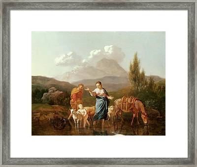 Holy Family At A Stream Framed Print by Karel Dujardin