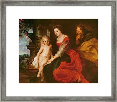 Holy Family With Parrot Framed Print by Rubens