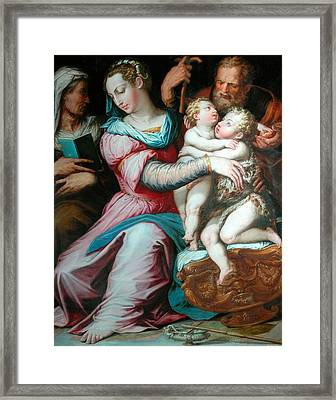 Holy Family With St John  Framed Print by Giorgio Vasari