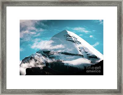 Holy Kailas Himalayas Mountain Tibet Yantra.lv Framed Print by Raimond Klavins