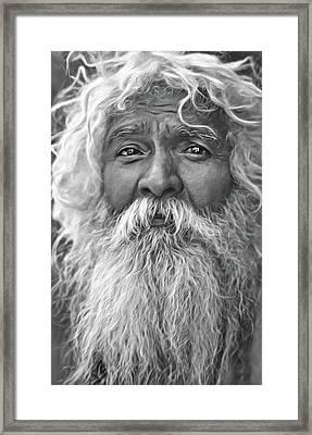 Holy Man - Such A Long Journey - Paint Bw Framed Print by Steve Harrington