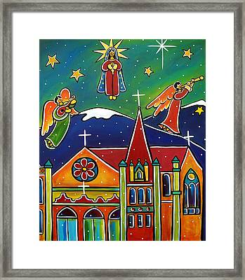 Framed Print featuring the painting Holy Mary Pray For Us by Jan Oliver-Schultz