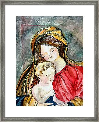 Holy Mother And Child Framed Print by Mindy Newman