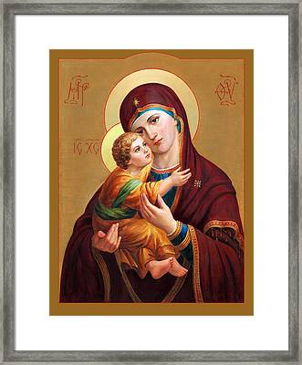 Framed Print featuring the painting Holy Mother Of God - Blessed Virgin Mary by Svitozar Nenyuk
