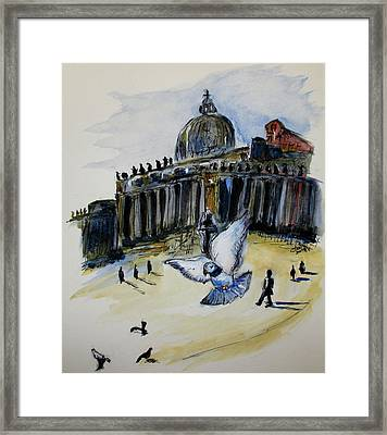 Holy Pigeons Framed Print by Clyde J Kell