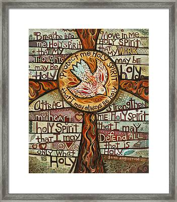 Holy Spirit Prayer By St. Augustine Framed Print by Jen Norton