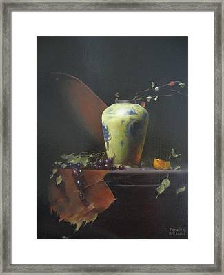 Framed Print featuring the painting homage to David Leffel by Noe Peralez