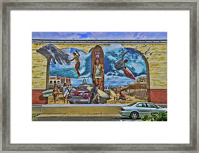 Homage To Duke Kahanamoku And Ocean City Framed Print by Allen Beatty