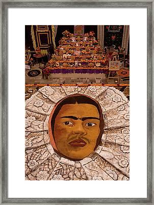 Homage To Frieda Kahlo - Altar And Sand Portrait Framed Print