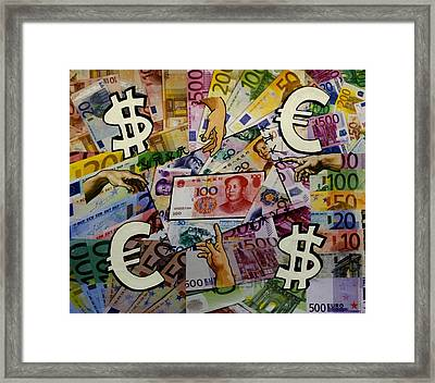 Homage To Money - And Man Created Money  Framed Print