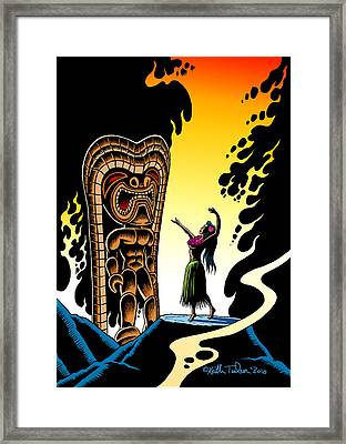 Homage To Tiki Framed Print by Keith Tucker