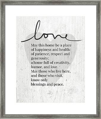 Home Blessing Rustic- Art By Linda Woods Framed Print
