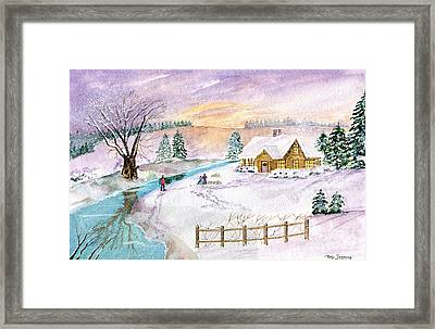 Framed Print featuring the painting Home For Christmas by Melly Terpening