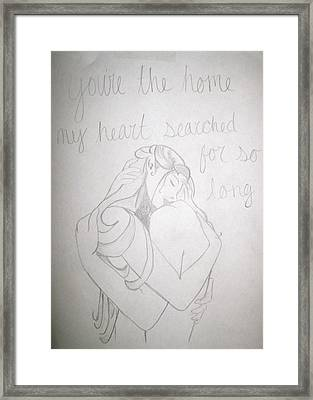 Framed Print featuring the drawing Home For My Heart by Rebecca Wood