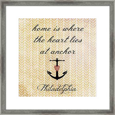 Home Is Philadelphia Anchor 2 Framed Print by Brandi Fitzgerald