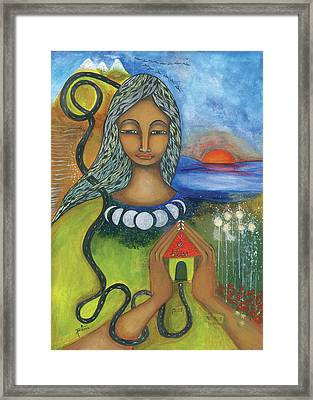 Framed Print featuring the mixed media Home Is Where Your Heart Is by Prerna Poojara