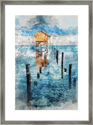 Home On The Ocean In Ambergris Caye Belize Framed Print by Brandon Bourdages