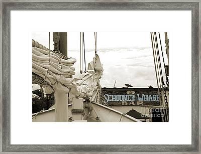 Home On The Wharf-blue-original Framed Print