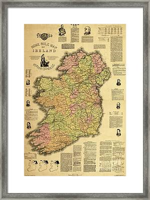 Home Rule Map Of Ireland, 1893 Framed Print